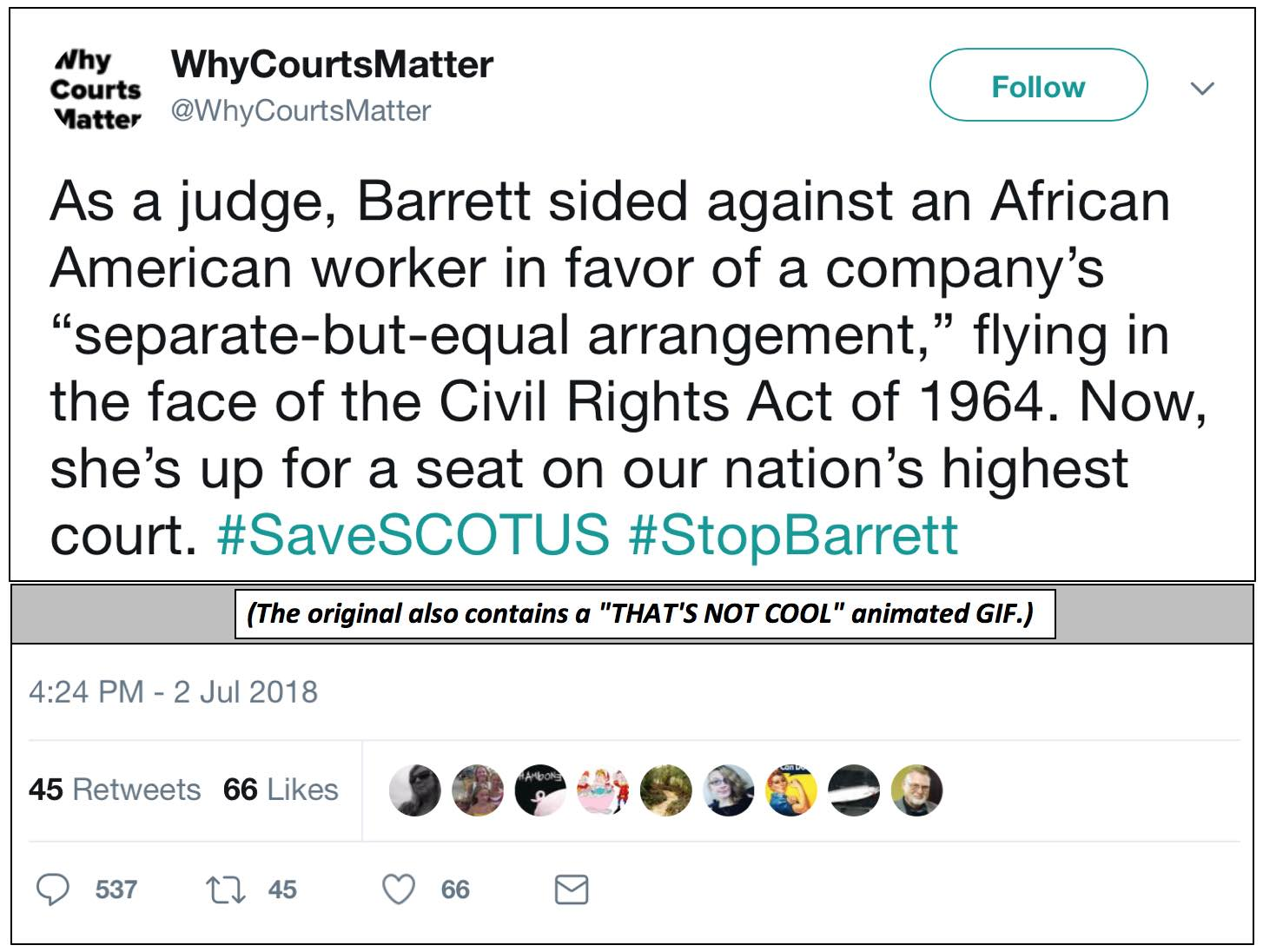 CAPwhyCourtsMatterBarrettTweet070218