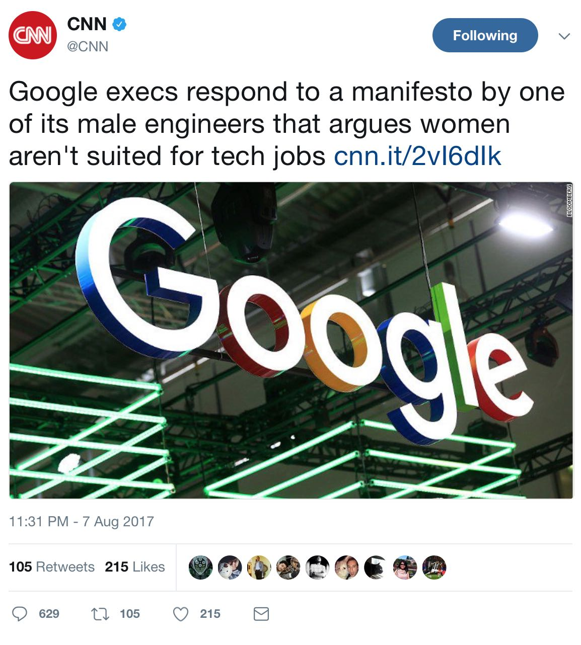 CNNfalseTweetOnFiredGoogleEng080717