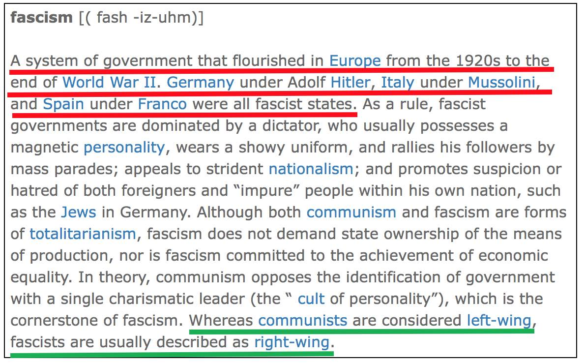 Googles Dictionary Fascism Can Only Be Right Wing