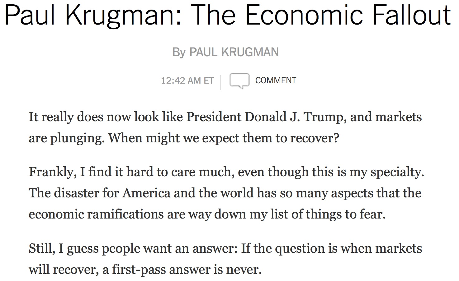 KrugmanMarketsWillNeverRecover110916