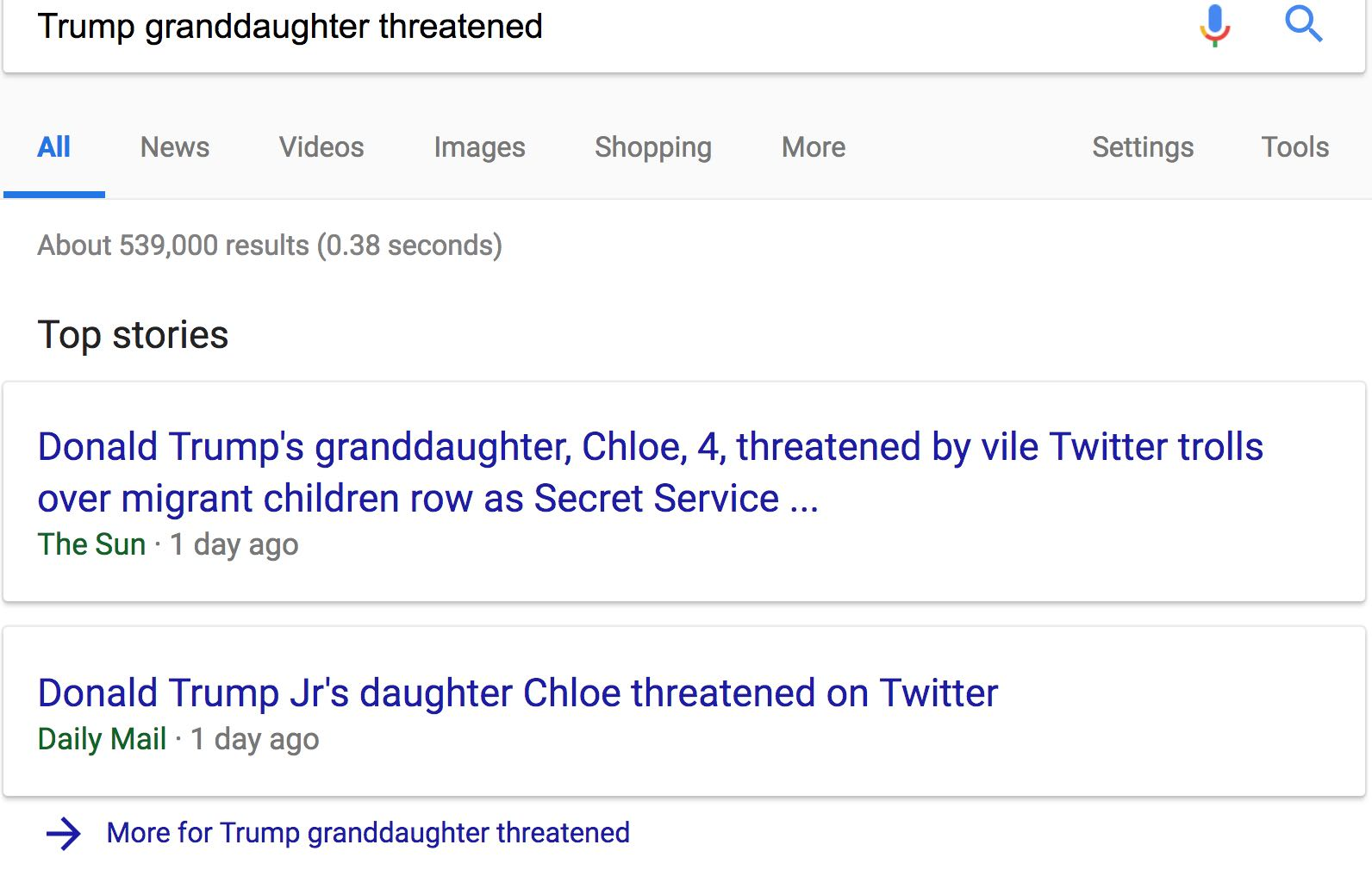TrumpGranddaughterUKgoogleResults062318
