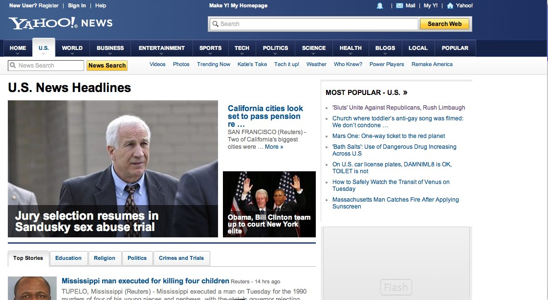 YAHOO NEWS U.S. Home Page, 11 a.m. ET: Nothing on Walker, Wisconsin